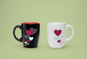 Flying hearts mug